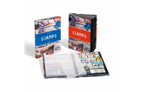 STAMP COLLECTION BOOK A4 BLACK PAGES ''STAMPS''